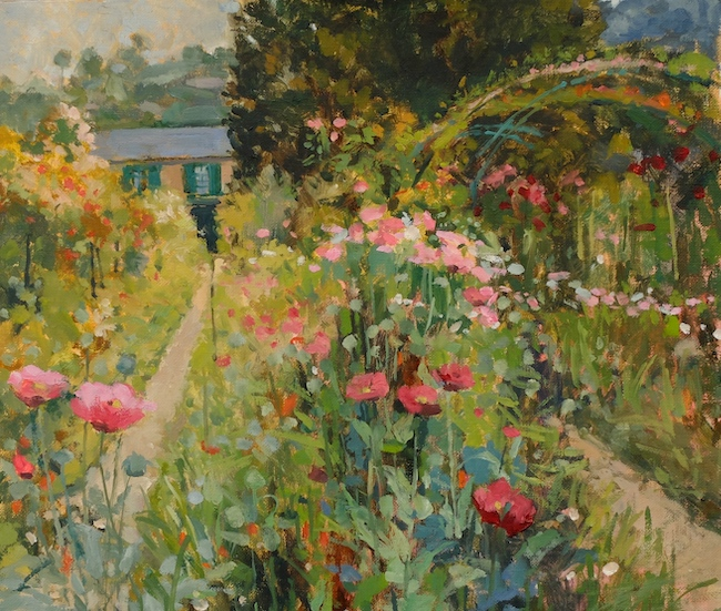Pamela Kay - Poppies by the Grande Allee - Oil on Board - 12 x 14 Inches