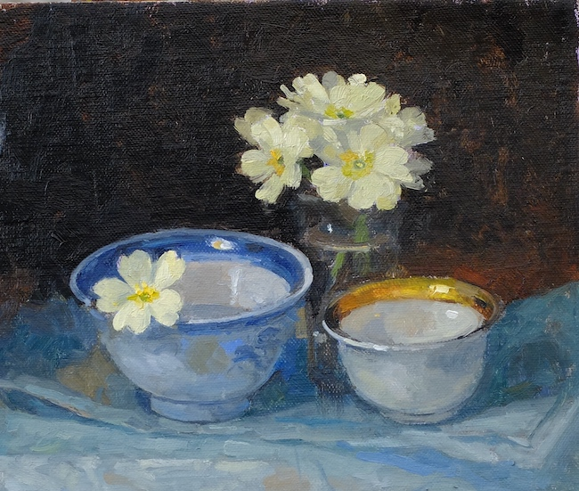 Pamela Kay - Primroses and Two Bowls - Oil on Board - 6 x 7 Inches