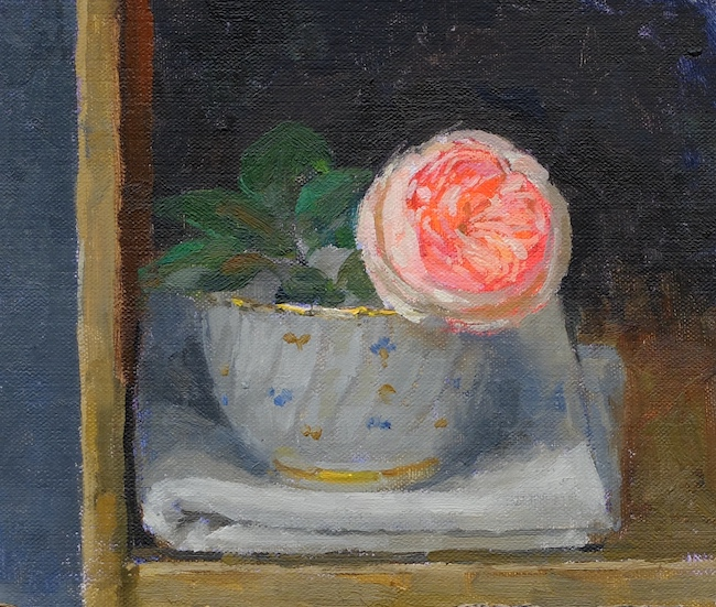 Pamela Kay - Rose in a Cup - Oil on Board - 6 x 7 Inches
