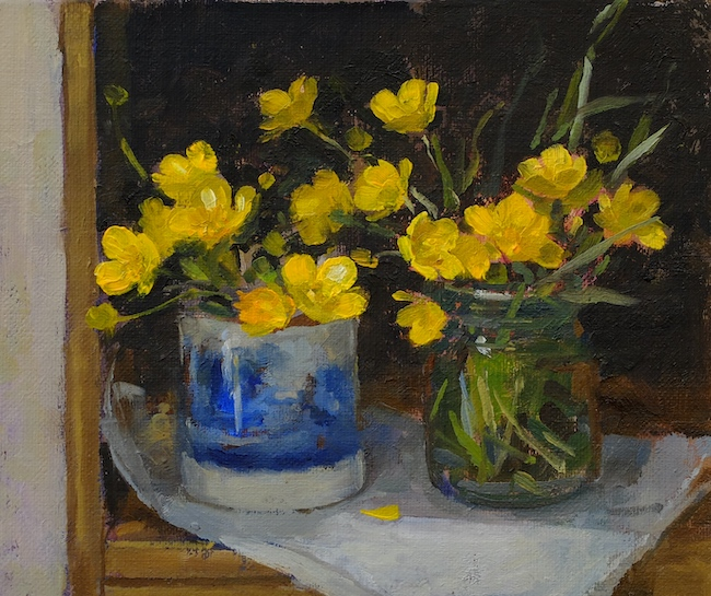 Pamela Kay - Spode cup and a Jar of Buttercups - Oil on Board - 6 x 7 Inches