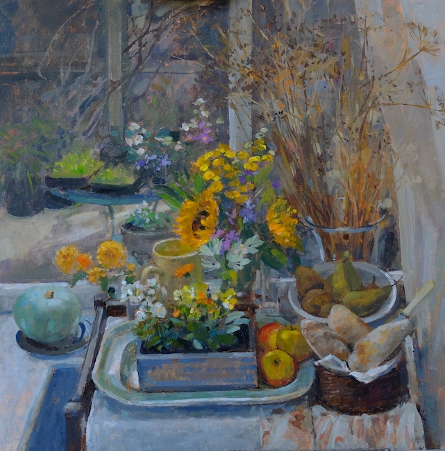 Pamela Kay - Still Life, Autumn in the Studio - Oil on Board - 24 x 24 Inches