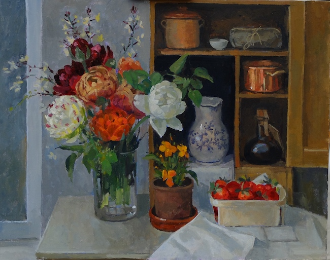 Pamela Kay - Still Life with Double Tulips - Oil on Canvas - 16 x 20 Inches