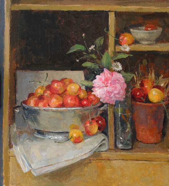 Pamela Kay - The Cherry Cupboard - Oil on Board - 11 x 10 Inches