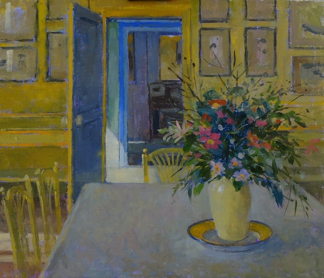 Pamela Kay - The Dining Room with Flowers, Giverny - Oil on Board - 12 x 14 Inches