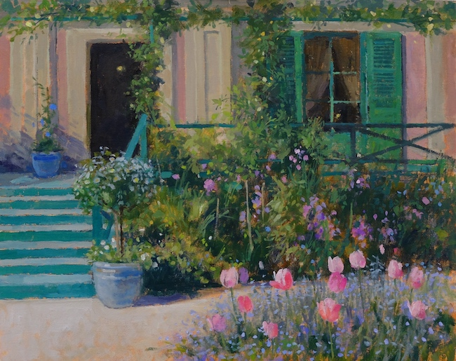 Pamela Kay - Tulips and Forget-me-nots at Giverny - Oil on Board - 16 x 20 Inches