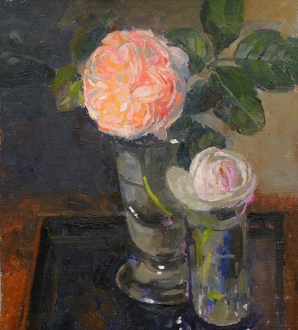 Pamela Kay - Two Roses on the Lacquer Tray - Oil on Board - 8 x 7 Inches