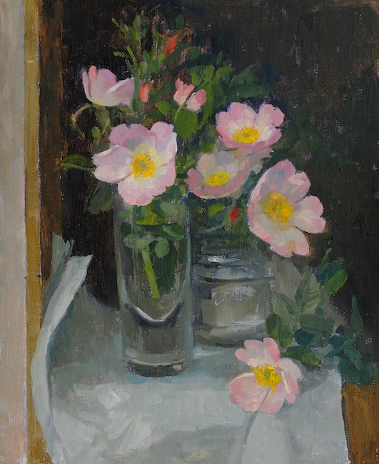 Pamela Kay - Wild Roses on a Shelf - Oil on Board - 11 x 9 Inches