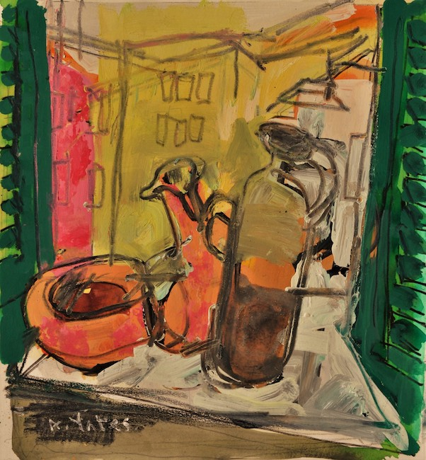 Anthony Yates - Finestra (study) - Mixed Media on Paper - 16 x 15 Inches