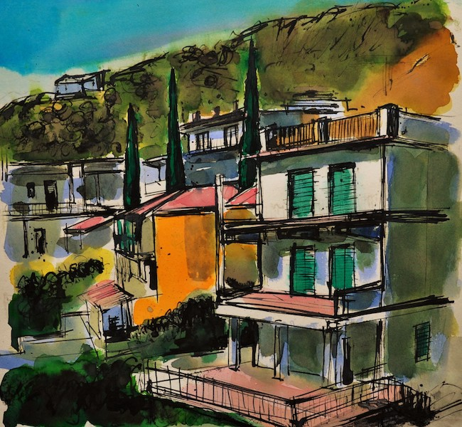 Anthony Yates - Taormina, Sicily - Ink and Watercolour - 13 x 13.5 Inches