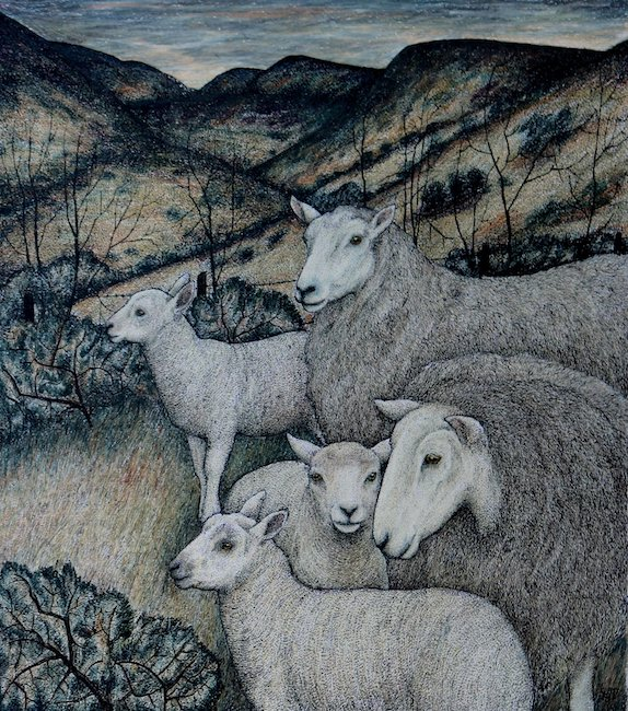 Seren Bell - Ewes and Lambs Uplands - Mixed Media - 16.5 x 18 Inches
