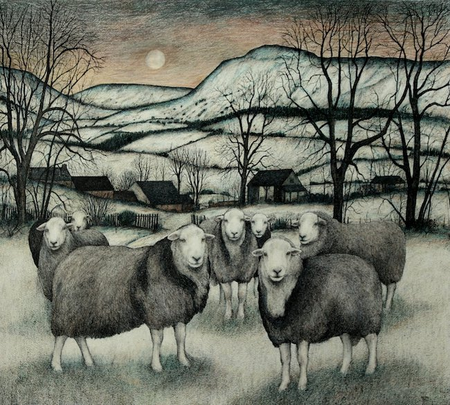 Seren Bell - Herdwick Flock, Late Winter - Mixed Media - 29 x 26 Inches