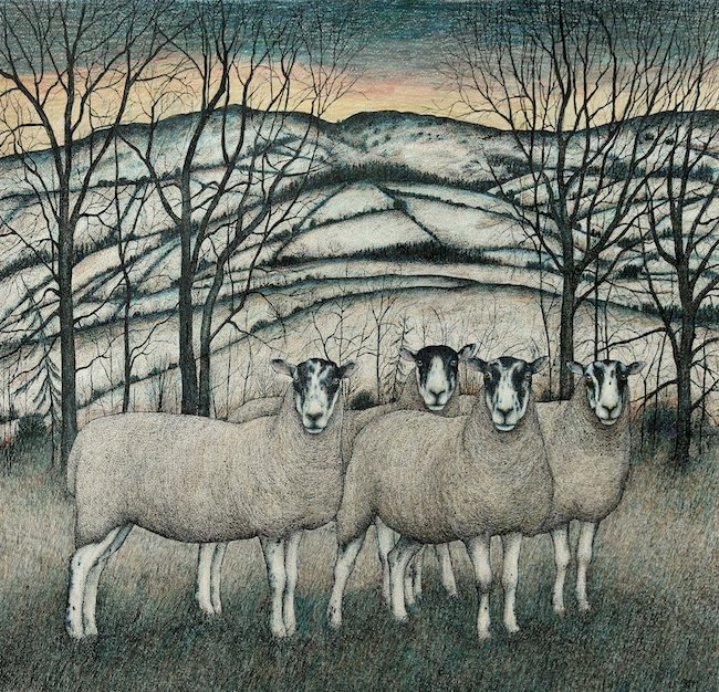 Seren Bell - Hills Above the Wye - Mixed Media  - 23.5 x 24.5 Inches