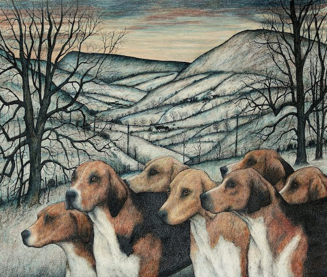 Seren Bell - Hounds, Borderlands - Mixed Media - 30.5 x 25.5 Inches
