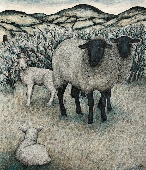 Seren Bell - Lambs and May Blossom - Mixed Media - 20.5 x 16.5 Inches