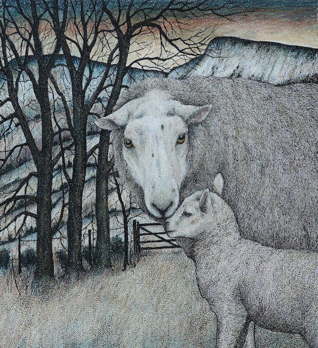 Seren Bell - March Lamb - Mixed Media - 12.5 x 13.5 Inches