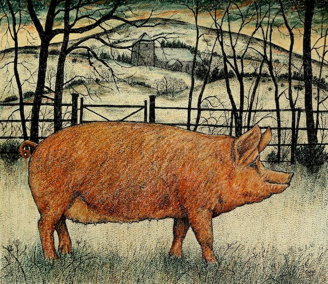 Seren Bell - Pig in the Snow - Mixed Media - 13.5 x 11.5 Inches