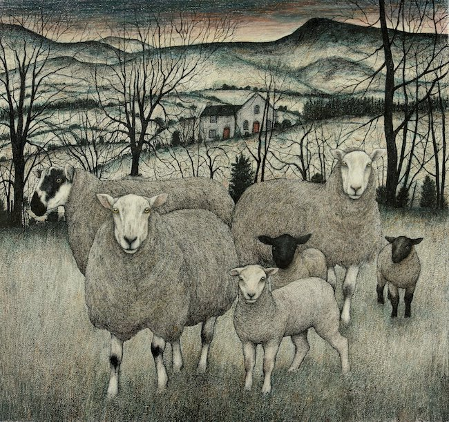 Seren Bell - Spring Lambs Radnorshire - Mixed Media - 26.5 x 29 Inches