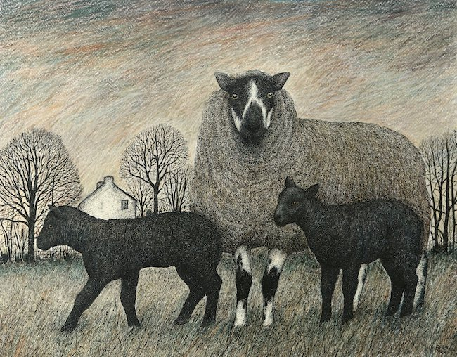 Seren Bell - Twin Lambs - Mixed Media - 20 x 15.5 Inches