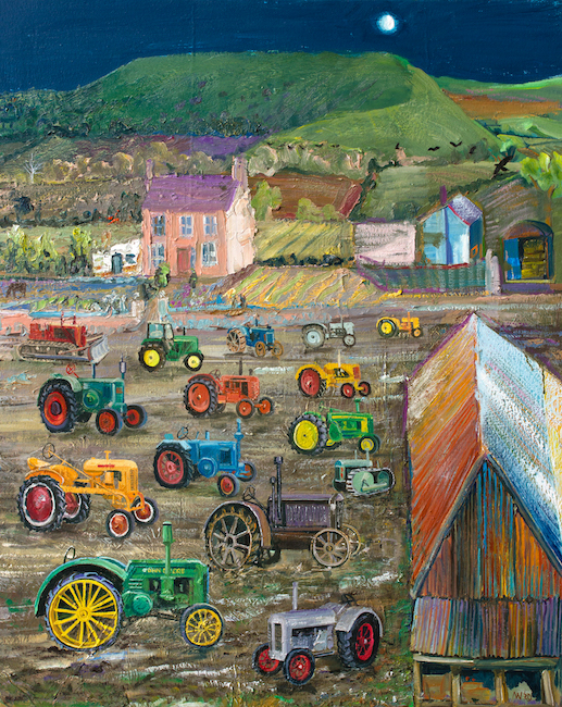 Alex Williams - Dreaming of Tractors - Oil on Canvas - 40 x 32 Inches
