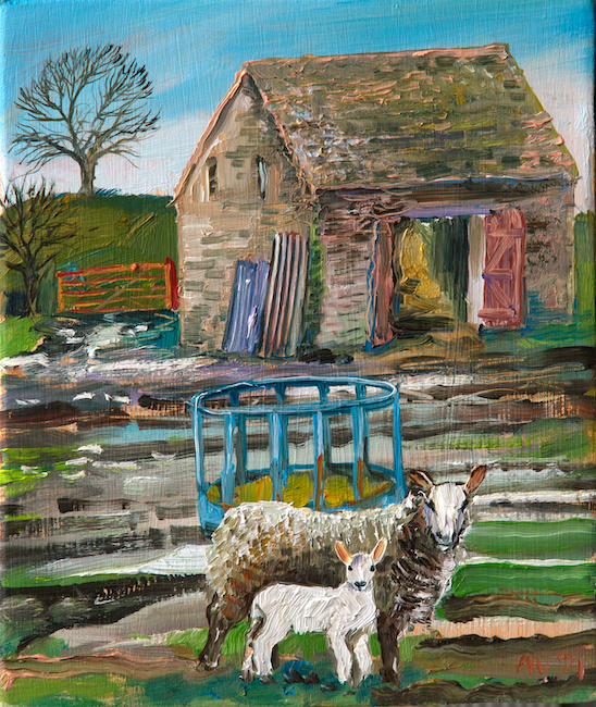 Alex Williams - Ewe and Lamb - Oil on Panel - 9 x 10 Inches