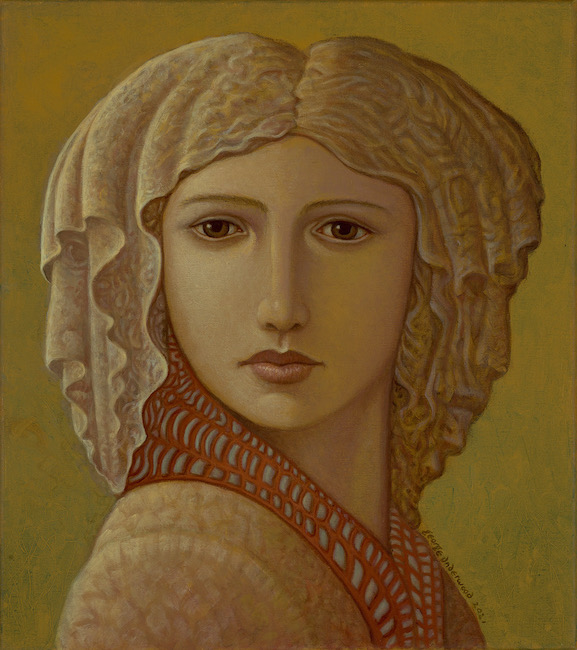 George Underwood - Headscarf - Oil on Canvas - 16 x 18 Inches