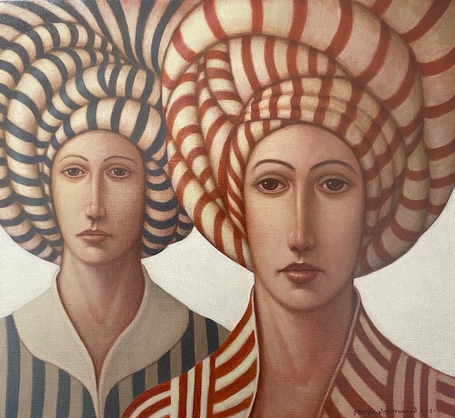 George Underwood - Material Girls - Oil on Canvas - 20 x 22 Inches