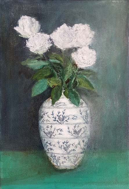 Karen Edwards - Still Life with White Roses - Oil on Canvas - 12 x 18 Inches