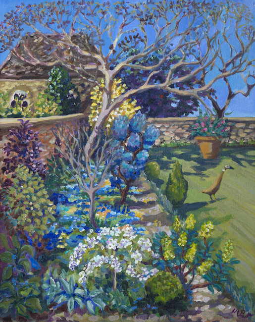 Lucy Pratt - May Garden, Forget-me-nots and Runner - Oil on Canvas - 30 x 24 Inches