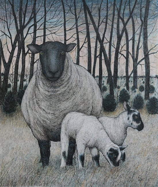 Seren Bell - Ewe with Twin Lambs - Mixed Media - 16.5 x 14 Inches