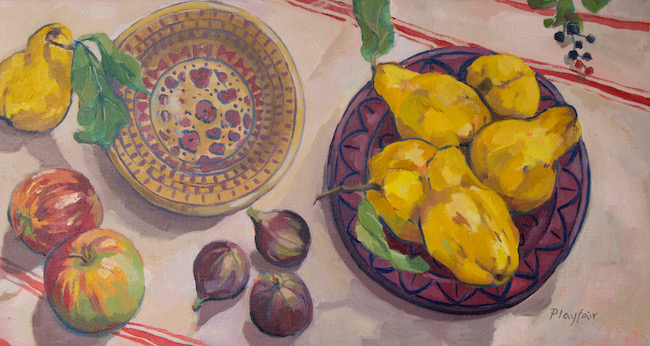 Annabel Playfair - Still life with Quince, Apples and Figs - Oil on Canvas - 14 x 26 Inches