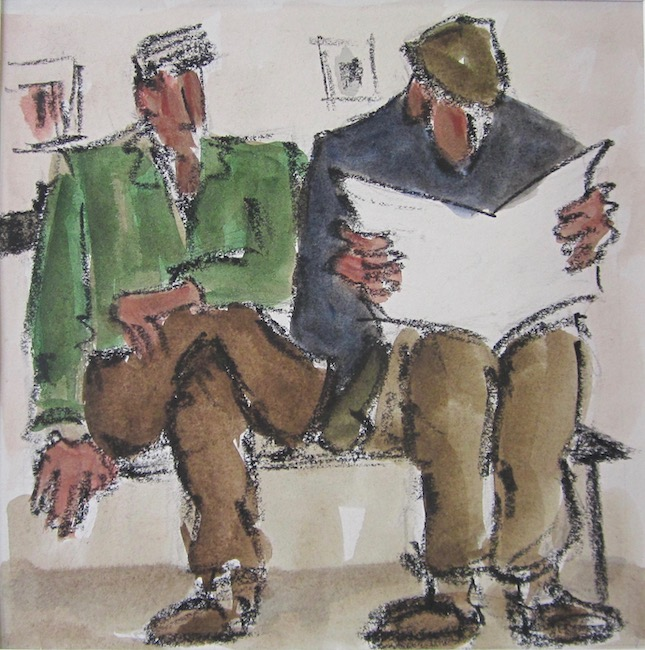 Mike Jones - Barber Shop - Crayon and Wash - 10.5 x 10.5 Inches