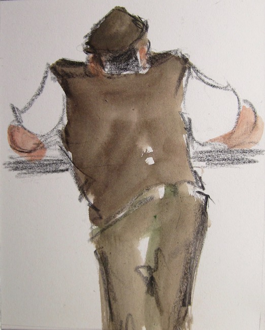 Mike Jones - Farmer on Rail - Lithocrayon and Wash - 10 x 8 Inches