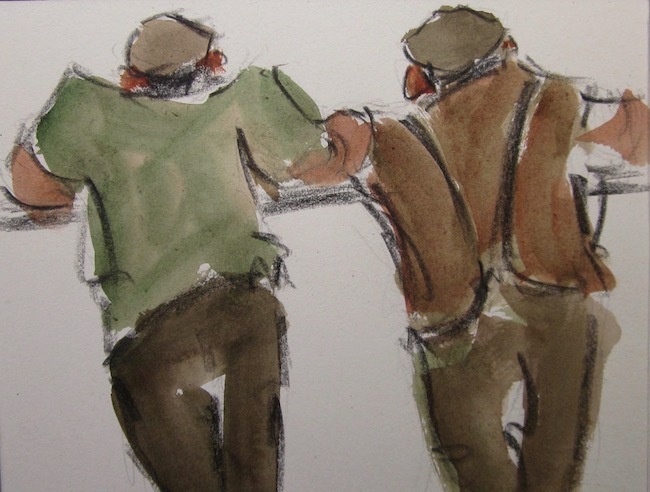 Mike Jones - Farmers on Rail - Lithocrayon and Wash - 8 x 10 Inches