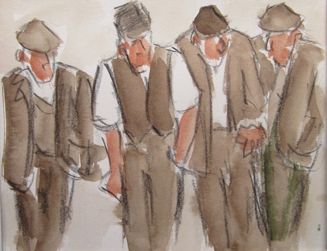 Mike Jones - Four Farmers - Crayon and Wash - 8 x 10 Inches