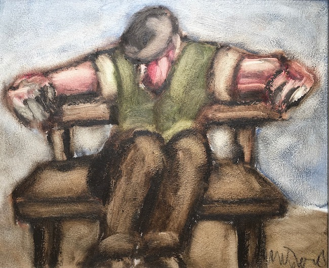Mike Jones - Garden Seat - Oil on Board - 9.5 x 11.5 Inches
