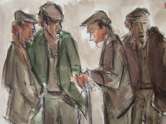 Mike Jones - Group of Farmers - Crayon and Wash - 13 x 13 Inches