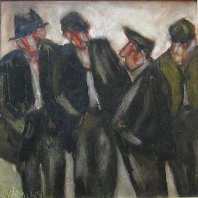 Mike Jones - Group of Farmers - Oil on Board - 11.5 x 11.5 Inches