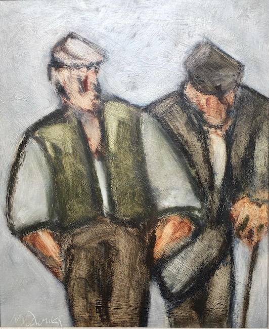 Mike Jones - Two Farmers - Oil on Board - 11.5 x 9.5 Inches