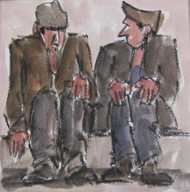 Mike Jones - Two Seated Figures - Crayon and Wash - 10.5 x 10.5 Inches
