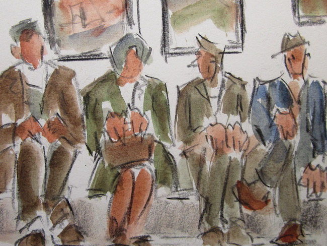Mike Jones - Waiting Room - Lithocrayon and Wash - 8 x 10 Inches