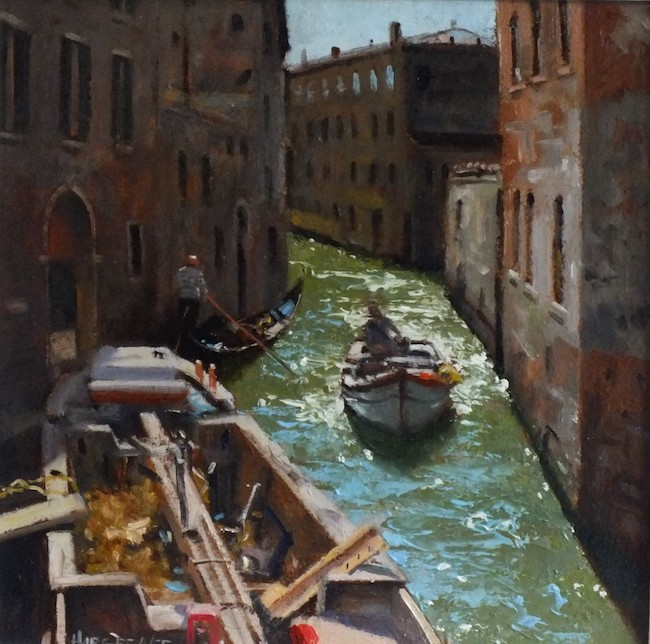 Ian Hargreaves - Everyday Life, Venice II - Oil on Board - 12 x 12 Inches