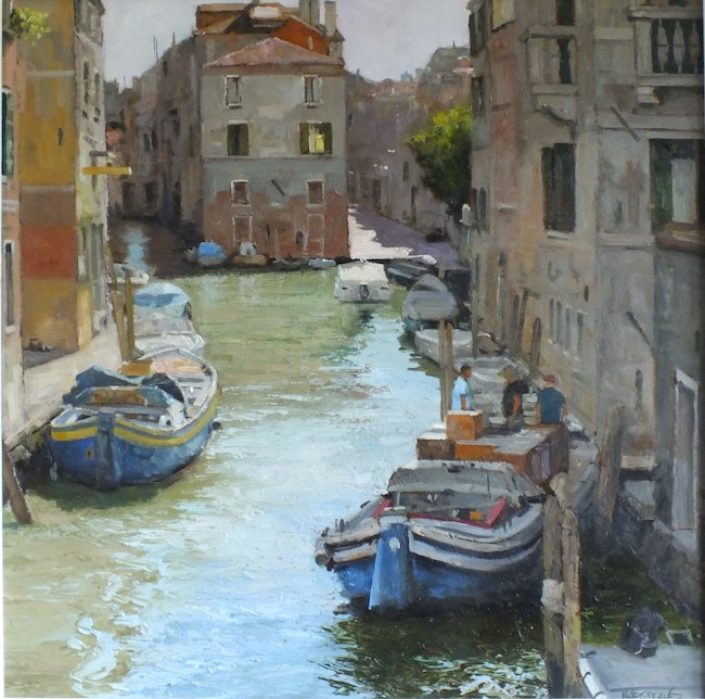Ian Hargreaves - Everyday Life, Venice III - Oil on Board - 20 x 20 Inches