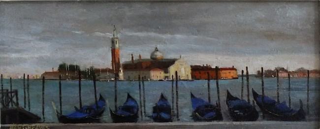 Ian Hargreaves - September in Venice - Oil on Board - 5 x 12 Inches