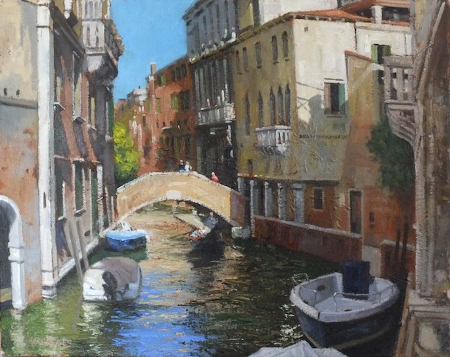 Ian Hargreaves - Strolling Around Venice - Oil on Canvas - 16 x 20 Inches