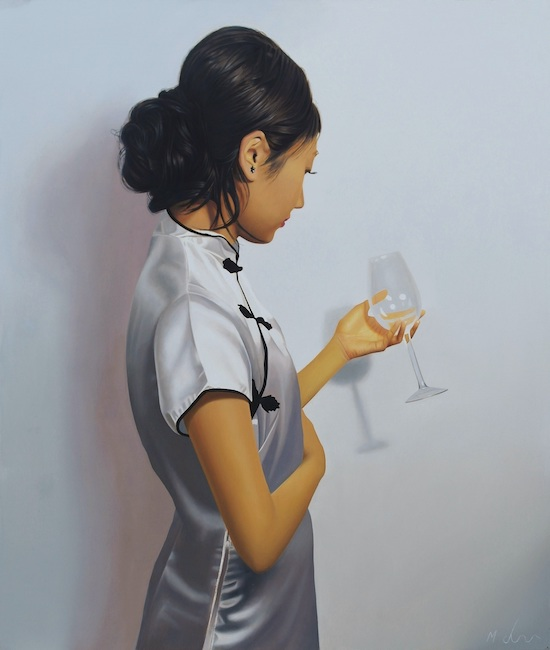 Michael de Bono - Lady with Glass - Oil on Panel - 16.5 x 14 Inches