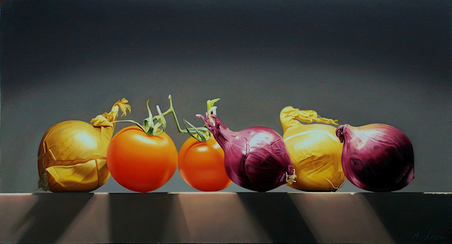 Michael de Bono - Panoramic Onions and Tomatoes - Oil on Panel - 18.5 x 10 Inches