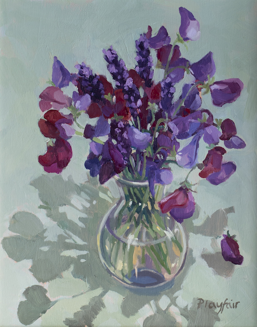 Annabel Playfair - Lavender and Sweet Peas - Oil on Canvas - 12 x 10 Inches