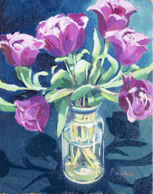 Annabel Playfair - Pink Tulips - Oil on Canvas - 12 x 10 Inches